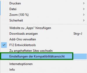 Kompatibilitätsansicht für Intranetseiten im Internet Explorer 11 deaktivieren