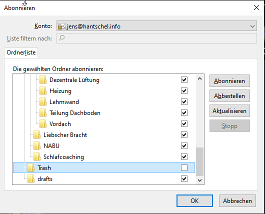 Mozilla Thunderbird - Papierkorb verschwunden (IMAP)