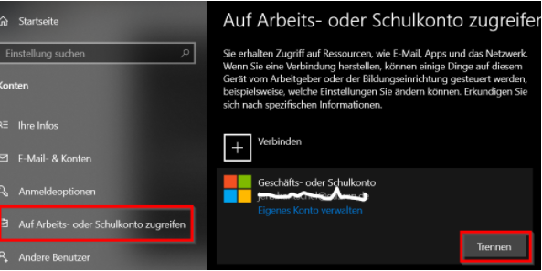 Microsoft Account aus Windows 10 entfernen